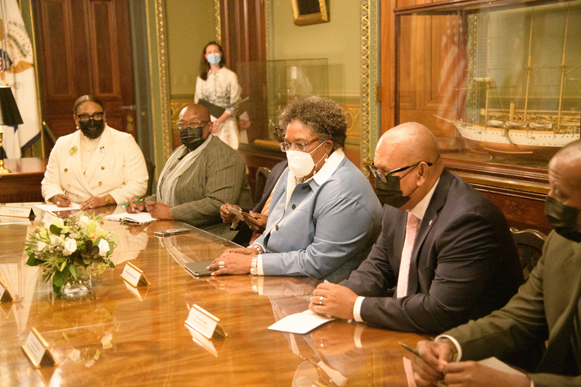 PM Mottley and VP Harris in high-level talks in Washington
