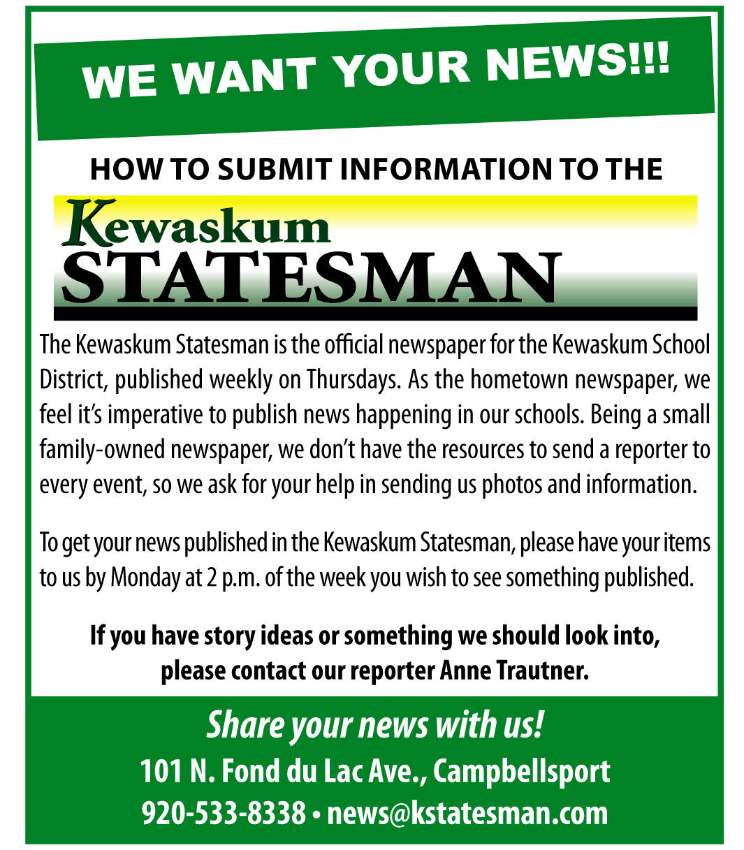 Submit News - Kewaskum Statesman