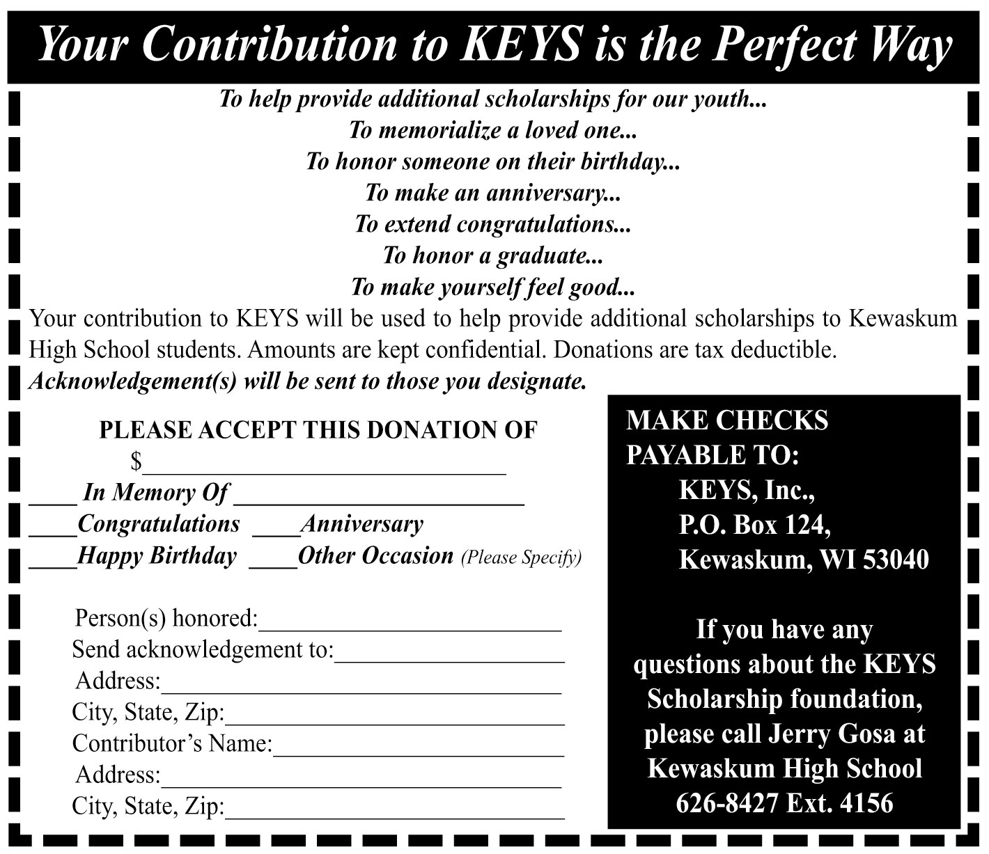 Keys Donation Form